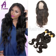 360 Lace Band Frontal Closure With Baby Hair With 3 Bundles Real Human Hair Weft