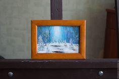 Купить Картина маслом Голубой лес. - голубой, картина, картина маслом, картина на заказ
