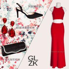 Twee delige rode jurk, prachtig te combineren met zwarte en rode accessoires. www.degalazaak.nl