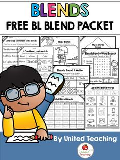 Blends: Free BL Blend Packet Sampler by United Teaching Phonics Reading, Teaching Phonics, Phonics Activities, Kindergarten Literacy, Teaching Reading, Teaching Ideas, Preschool, Interactive Activities, Phonics Blends