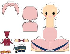 During her early years in the Academy, Sakura was frequently bullied by others due to her large forehead. To try and combat this, Sakura used her bangs to hide her forehead, fuelling the other kids. Origami Naruto, Instruções Origami, Paper Toys, Paper Crafts, Figurine Anime, Paper Doll Template, Anime Crafts, Anime Naruto, Naruto Uzumaki