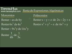 Resta de expresiones algebraicas (monomios y polinomios)