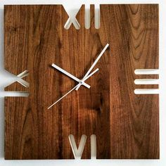 Wall Clock Wooden, Wood Clocks, Wall Watch, Wall Clock Design, Modern Clock, Diy Clock, Wooden Watch, Weekend Projects, Woodworking Crafts