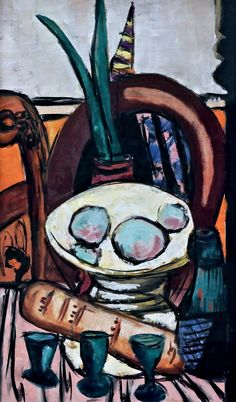 Max Beckmann. 1884-1950. Still Life with Green Glasses. Nature morte avec des lunettes vertes. 1944 . Cologne. Musée Ludwig.