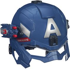 The Captain America: The Winter Soldier Super Soldier Battle Helmet from Hasbro is a roleplay helmet inspired by Captain America's gear in the upcoming Captain America: The Winter Soldier movie. Captain America Super Soldier, Marvel Captain America, Soldier Helmet, Warrior Helmet, Pistola Nerf, Cool Nerf Guns, Spy Gear, Disney Merchandise, Winter Soldier