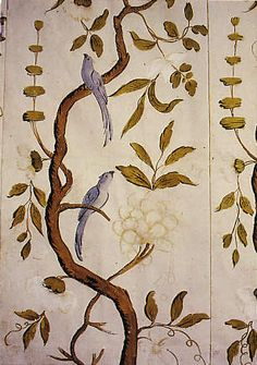 hand-painted wallpaper in the actors' room of a Swedish theatre - love this design for a piece of furniture