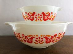 Pyrex Friendship 441 and 443 Cinderella Bowls Kitchen Dining Milkglass Baking by LakesideVintageShop on Etsy