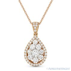 The featured pendant is cast in 18k rose gold and showcases a tear-drop design adorned with round brilliant cut diamond clusters at the center and paved with round cut diamond accents set all the way around the tear-drop outline and all the way up to the loop.