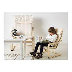 POÄNG Fauteuil enfant - plaqué bouleau/Almås écru, - IKEA