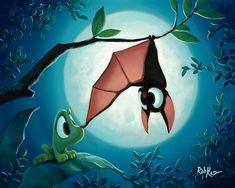 Friends Along The Way – Rob Kaz Art Shop halloween illustration Friends Along The Way Cute Animal Drawings, Cute Drawings, Cartoon Bat, Cute Illustration, Halloween Illustration, Halloween Drawings, Halloween Pictures, Halloween Art, Cute Bat