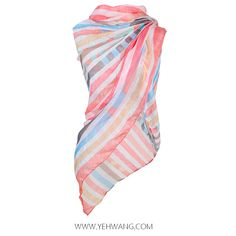Stripes summer scarf with soft pastel colors. www.yehwang.com
