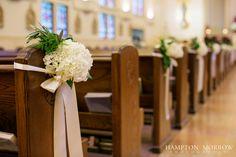 Hydrangea Pew Flowers, Holy Trinity Catholic Church Wedding www.significanteventsoftexas.com  #significanteventsoftexas