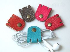 Set of 2 - Leather Headphone Holder - cable organizer - earphone holder - ear plug holder - earbud wrap - headphone organizer - earplug