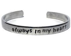 Always In My Heart, Deployment Bracelet, Army Wife, Deployment Gift, Military Bracelet, Military Jewelry, Military Wife, Military Girlfriend