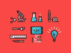Icons for an online quiz about three different ecommerce personas - inspired inventor, bold brand builder, driven drop shipper.