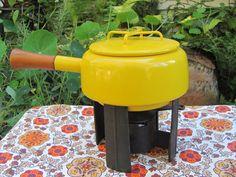Dansk Fondue Pot Yellow Enameled Cast Iron by MamabirdsVintage