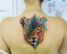 lioness tattoo watercolor