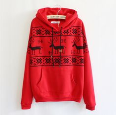 Deer Hooded Sweater Shirt For Women
