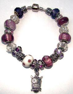 Purple Owl European Charm Bracelet