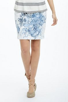 Anthropologie Cheeka Pencil Skirt in White and Blue Motif.