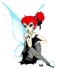 Tinkerbell is stinker Emo Disney Princess, Dark Disney Princess, Goth Disney Princesses, Punk Disney Characters, Pixie Hollow, Tinker Bell, Disney Tattoos, Desenho Peter Pan, Disney Art