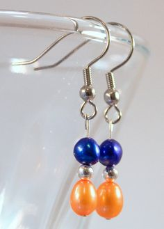 Freshwater pearl earring in blue and orange inspired by the Florida Gators, Boise State, New York Knicks, New York Mets
