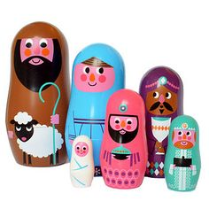 Christmas Nativity Nesting Dolls. I wonder if I could get this in the US.