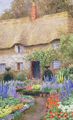 PAINTINGS OF COTTAGES images   Cottage Garden In Full Bloom Painting - A Cottage Garden In Full ...