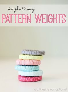 """Tutorial: Ribbon wrapped pattern weights Jess from Craftiness Is Not Optional shows how to make a set of ribbon wrapped pattern weights. Her post is part of the """"What I wish had known when I started sewing…"""" series by … Sewing Hacks, Sewing Tutorials, Sewing Crafts, Sewing Projects, Sewing Tips, Tutorial Sewing, Sewing Patterns Free, Free Sewing, Pattern Weights"""