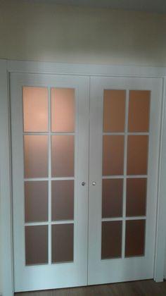 #puerta #corredera doble #lacada en #blanco modelo FONTANA V8 Cristal mate