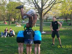 This member flips over three girls on the quad