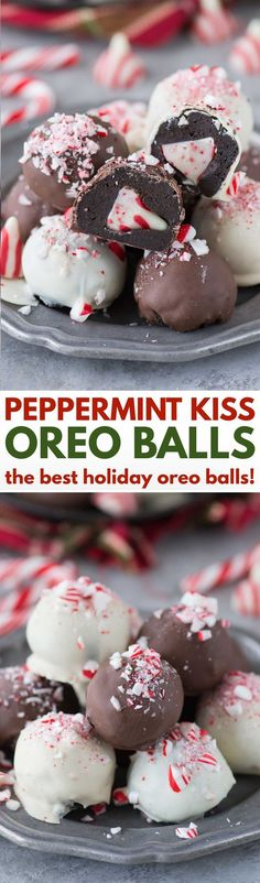 The ultimate holiday oreo balls! Peppermint Kiss Oreo Balls - each ball has a peppermint kiss stuffed inside! The ultimate holiday oreo balls! Peppermint Kiss Oreo Balls - each ball has a peppermint kiss stuffed inside! Köstliche Desserts, Holiday Cookies, Holiday Baking, Christmas Desserts, Holiday Treats, Holiday Recipes, Delicious Desserts, Dessert Recipes, Dinner Recipes