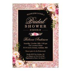 #bridal #shower #invitations - #Trendy Rose Gold Glitter Pink Floral Bridal Shower Card