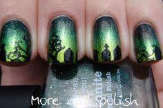 green graveyard halloween nails