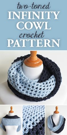Hottest Absolutely Free Crochet cowl outfit Popular Two-Toned Infinity Cowl Crochet Pattern Crochet Beanie, Crochet Shawl, Crochet Stitches, Free Crochet, Crochet Patterns, Scarf Patterns, Loom Knitting, Crochet Cowl Patterns, Doilies Crochet