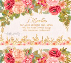 Watercolor glitter floral headers. Flower clipart. Floral clip art. Floral headers, borders. watercolor clipart. Roses clipart. Digital glitter clipart. PNG files.  Watercolor glitter floral clipart collection. Gold set with floral headers roses for your designs and ideas. You can use floral glitter set for your interiors, scrapbooking, wedding invitation cards, photo albums, banners, business cards, posters, websites also like wallpaper, wrapping paper, cloth design, as a festive decoration…