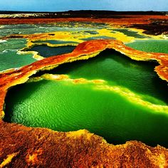 The Dallol volcano in north-east Ethiopia forms part of the Great Rift Valley, the world's largest rift system, stretching 6,000km from the Red Sea down to Lake Malawi. Up to 75km wide in places, it's cradled by a series of cliffs, rising from the valley floor to the top of the highest escarpments. Photograph: Pascal Boegli/Getty Images/Flickr Open