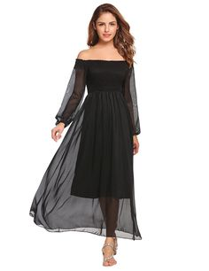 fc5a203304 Elesol Women s Off the Shoulder Slash Neck Bell Sleeve Pleated Beach Long  Maxi Dress at Amazon Women s Clothing store