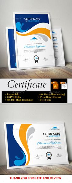 Certificate Design, Certificate Templates, Infographic Templates, Resume Templates, Certificate Of Achievement, Graphic Design Inspiration, Website Template, Designs To Draw, Layout Design