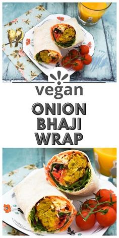 Onion Bhaji Lunch Wrap - A colourful lunch wraps with the flavours of India and a rainbow of vegetables. Vegetarian Wraps, Vegan Wraps, Vegetarian Lunch, Vegetarian Recipes, Vegan Lunch Box, Vegan Lunches, Vegan Supermarket, Easy Cooking, Cooking Recipes