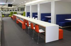 White long canteen tables