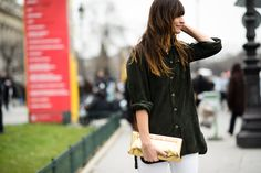 Paris Haute Couture Spring 2015 Street Style - Suede shirt, white jeans, gold clutch