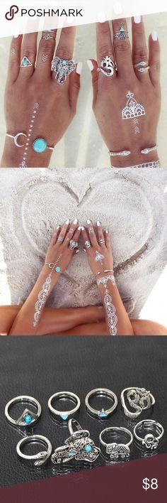*Jewelry 2/$12* 8 piece boho midi ring set *Jewelry 2/$12* 8 piece boho midi ring set. Brand new with tags. Jewelry Rings