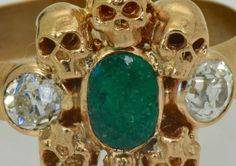 WOW! Victorian MEMENTO MORI SKULLS 18k Gold,Diamonds&1ct COLOMBIAN Emerald ring  | eBay