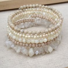 Multi layer shades of white Moonstone bracelet Handmade multi layer shades of off white beaded wrap around memory wire boho style bracelet with a layer rainbow moonstonebohemian style bridal and everyday jewelry one size fits all ✨20%off bundles✨ Jewelry Bracelets