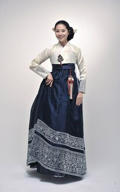 Hanbok - white chima, dark blue jeogori with deep decorative hem