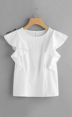 Online shopping for White Ruffle Sleeve Top from a great selection of women's fashion clothing & more at MakeMeChic. Look Fashion, Girl Fashion, Fashion Outfits, Plus Fashion, Winter Fashion, Red Blouses, Blouses For Women, Chiffon Blouses, Blouse Styles