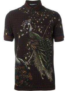 Fantastic Bird Print Polo Shirt series from Dolce & Gabbana. Peacock. | Follow rickysturn/mens-casual