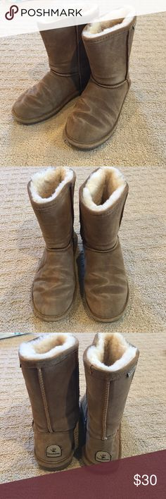 Bearpaw women's shearling suede boots 5 Emma short Almost new women's bearpaw boots. Style is Emma short. Medium brown. Rubber sole and thick shearling/suede upper. Only worn a few times. Size 5 BearPaw Shoes Winter & Rain Boots