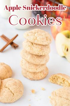 Apple Snickerdoodle Cookies – A delicious fall dessert made with fresh apples and homemade snickerdoodle cookie dough rolled in cinnamon sugar! #fall #apple #cookies #dessert #easydessert #recipe #easyrecipe #snickerdoodle Holiday Cookie Recipes, Best Cookie Recipes, Apple Recipes, Cupcake Recipes, Baking Recipes, Cupcake Cakes, Bar Recipes, Holiday Baking, Dessert Recipes